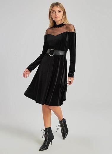 People By Fabrika Tül Detaylı Kadife Elbise Siyah
